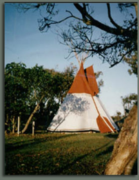 Family camping in our tipi