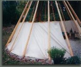 Tipi inner linning hung on poles