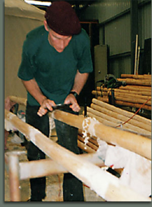 Shaping the Tipi poles