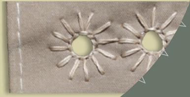 Tipi cover lacing pin holes