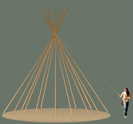 Tying off the Tipi poles